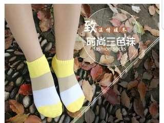 時尚三色襪