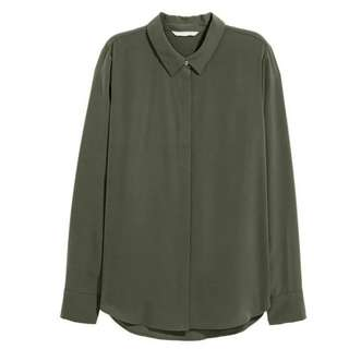H&M Green Satin Longsleeve Blouse