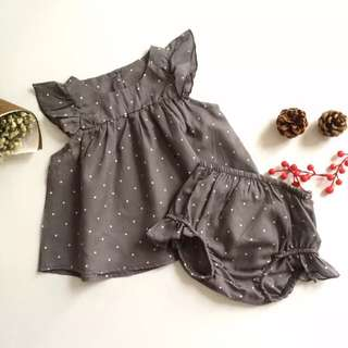 ✔️STOCK - 2pc DARK GREY POLKA RUFFLED TOP & BLOOMER SHORTS SET NEWBORN BABY TODDLER GIRL KIDS CHILDREN CLOTHING