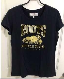 Roots 限量黑色燙金T