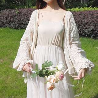 鈎花燈籠袖蕾絲外套