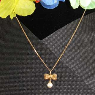 📌(Repriced)Gold Tone Necklace (Ribbon with Pearl Design)