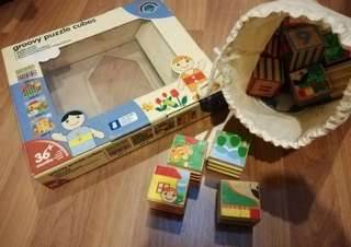 Groovy wooden puzzle cubes (4 sides different designs)