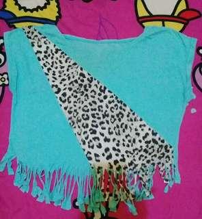 Baju crop rumbai leopard