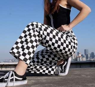 Checkered high waist pants