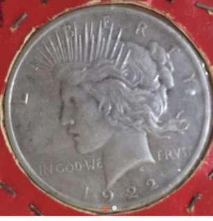 珍藏古幣 美國922年 女神頭 鷹幣 壹圓