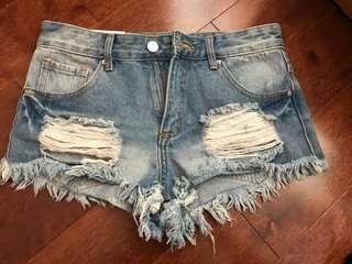 F21 ripped jean shorts