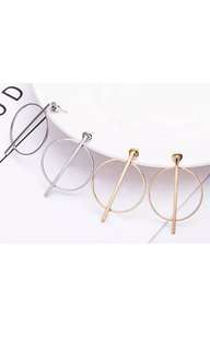 Fashion hoop line stud hanging earrings women's designer gold silver