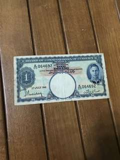 1941 $1 Malaya King George Currency Note