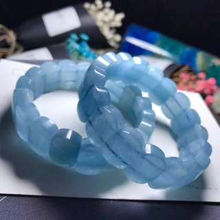 天然冰清海藍寶手排
