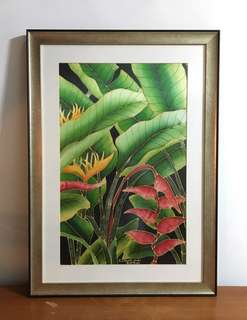 Silk batik painting with wooden frame and glass protector