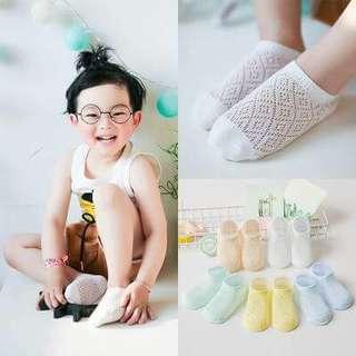 【預購】 兒童透氣卡絲超薄網眼襪5雙