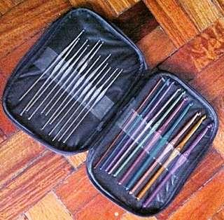 22pc Crochet Hook Set with Faux Purple Leather Case