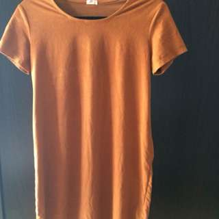 Suede orange/brown t-shirt dress