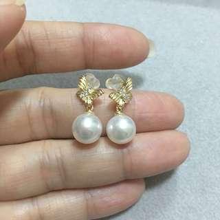 純銀鍍金天然日本珍珠Akoya耳環