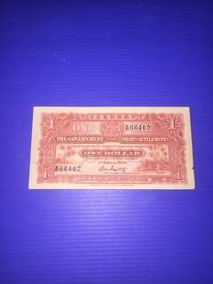 Straits Settlements One Dollar Year 1925 ( Rare Note & Rare Year)