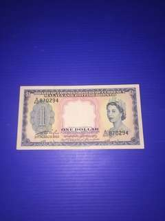 Malaya $1 year 1953