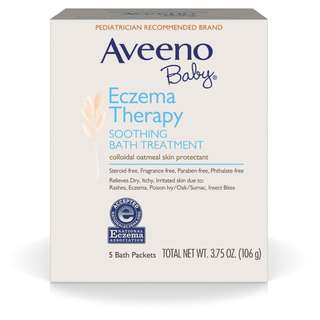 Aveeno Baby Eczema Therapy Soothing Bath Treatment For Minor Skin Irritations, 5 packets