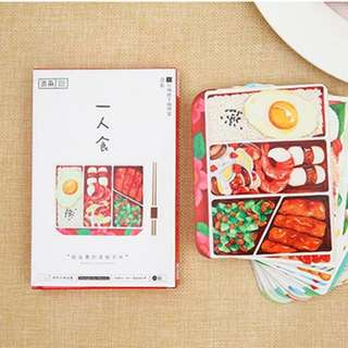 Japanese Bento Set Meal Notecard For People Who Love Food Postcards (30 Pieces In A Box)