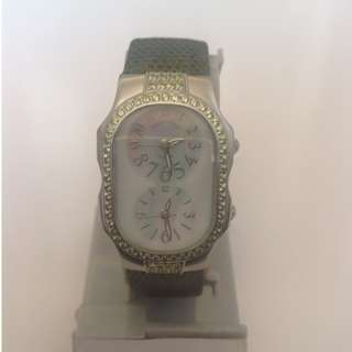Authentic And Rare Philip Stein Double Diamond Peridot Small Watch