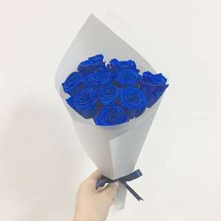 Preserved Electric Blue Rose / 10 Roses Birthday Bouquet