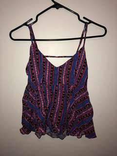 F21 Patterned Summer Top Open Back (Size S)