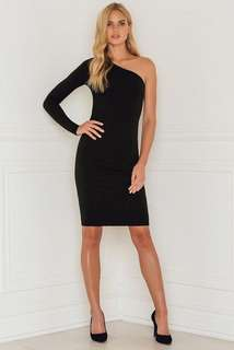 Black Bodycon One Shoulder Long Sleeve Evening Dress