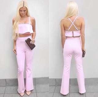 Pink 2 piece matching set crop top and pants
