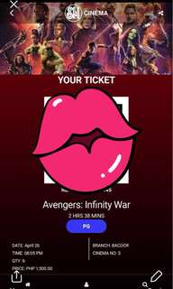 Six (6) Avengers: Infinity War Movie Tickets