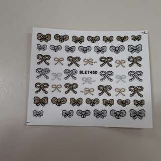3D Glitter Bow Nail Decals
