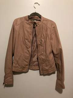 F21 Nude Pink Leather Jacket (Size S)