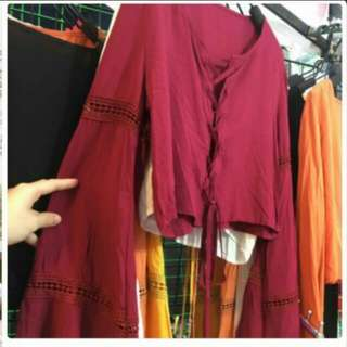 (free postage) long sleeve maroon crop top lace up front