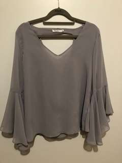 Light Gray Sheer top with open back