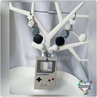 Customised Grey Gameboy Teether with beads Carrier Accessory