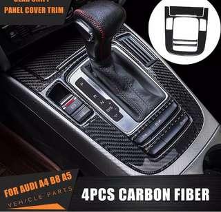 Audi A4 B8 A5 Carbon Fiber Interior Console Gear Shift Panel Cover Trim