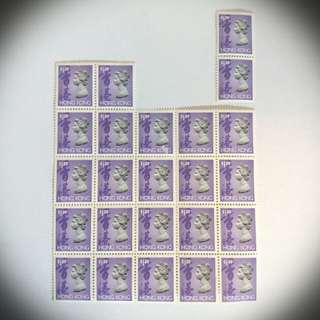 罕有女皇頭香港郵票 $1.2 廿四枚