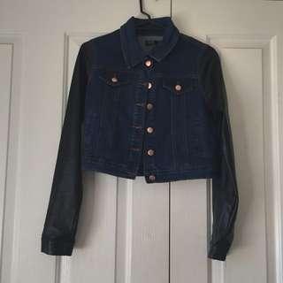Denim Crop Jacket Leather Sleeves
