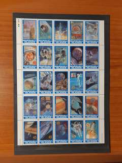 1989 Marshall Islands Stamp sheet on History of  Space Exploration from 1926 to 1988