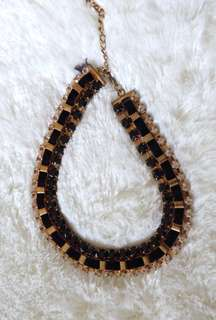 Black Gold Suede Necklace
