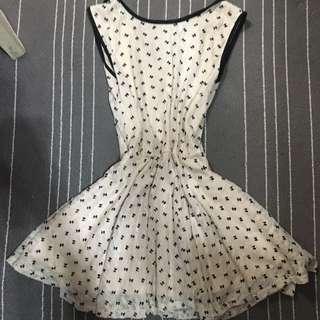 復古 奧黛麗赫本 蕾絲 蝴蝶結 黑白 小洋裝
