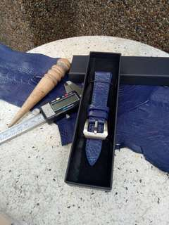 Watch strap. Handmade. Custom made. Ostrich leg skin leather