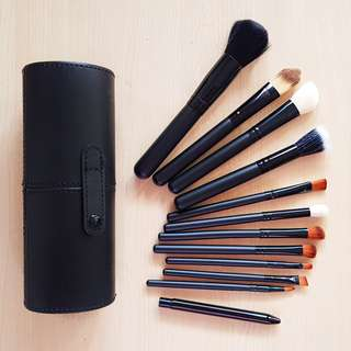 Makeup Brush Set with Case 12pcs Black