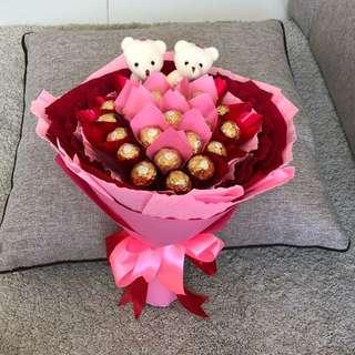 Bear & Ferrero chocolate bouquet