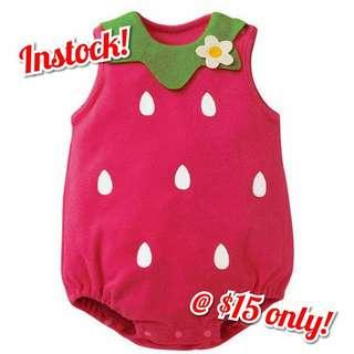 (Instock) Baby Girl Strawberry Romper