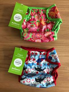 NWT Blueberry One-size Capri Cloth Diaper Covers - Pink Butterfly Garden & Sharks
