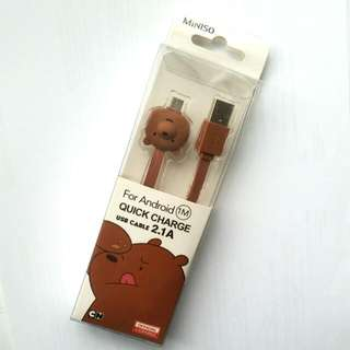 We Bare Bears - Grizzly 1m Micro USB Cable 2.1A Quick Charge