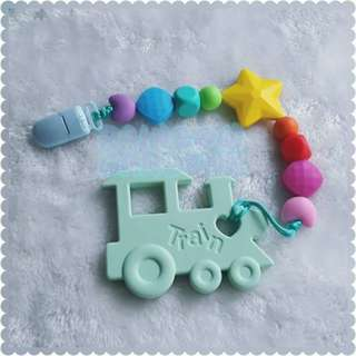 Handmade Rainbow beads Pacifier Clip + Mint Train teether