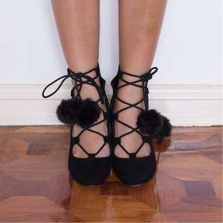 Sale!!! ASOS strappy pompom chunky heeled pumps