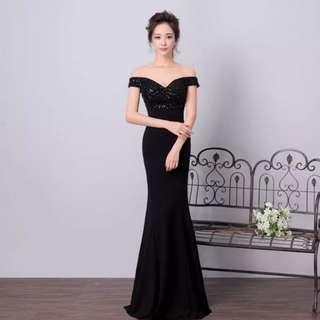 Black off shoulder beaded evening gown