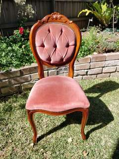 6 x  Maroon/Red velvet dining chairs